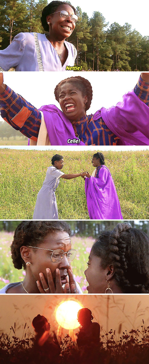 """Celie and Nettie reuniting in the field at the end of """"The Color Purple"""""""