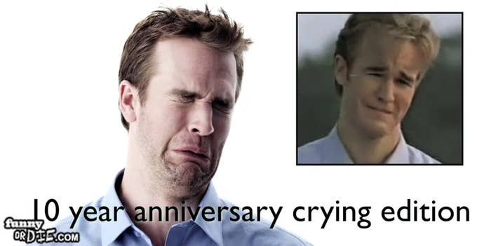 """James making his Dawson crying face, labeled """"10 year anniversary crying edition"""""""