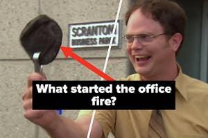 Dwight Schrute holds up a burnet cheesy pita sandwich
