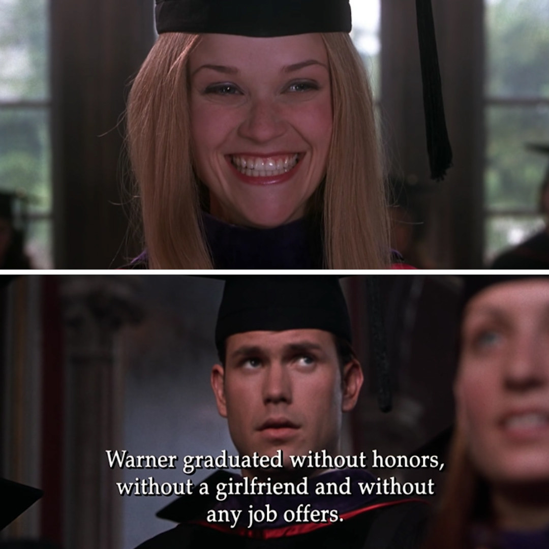 """Elle graduating from Harvard Law School with a smile on her face, with a cut to Warner that reads: """"Warner graduated without honors, without a girlfriend, and without any job offers"""""""