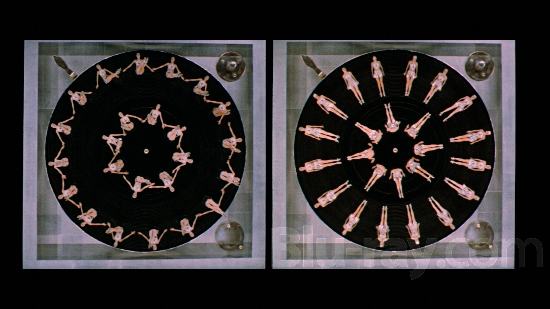 Fractal arrangement of synchronized dancers as seen from an overhead shot in the film The Boyfriend.