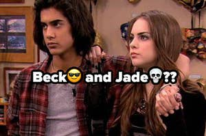 Beck and Jade stand next to each other as Beck has one arm around her shoulders