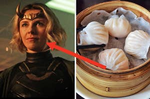 A close up of Sylvie as she smirks at someone off screen and a pair of chopsticks begins to pick up a dumpling from the pot