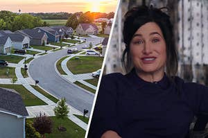 A drone shot of a suburban neighborhood at sunset and Agatha Harkness talks into the camera for her solo interview