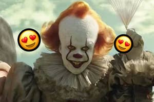 pennywise the clown with heart eye emojis around his face