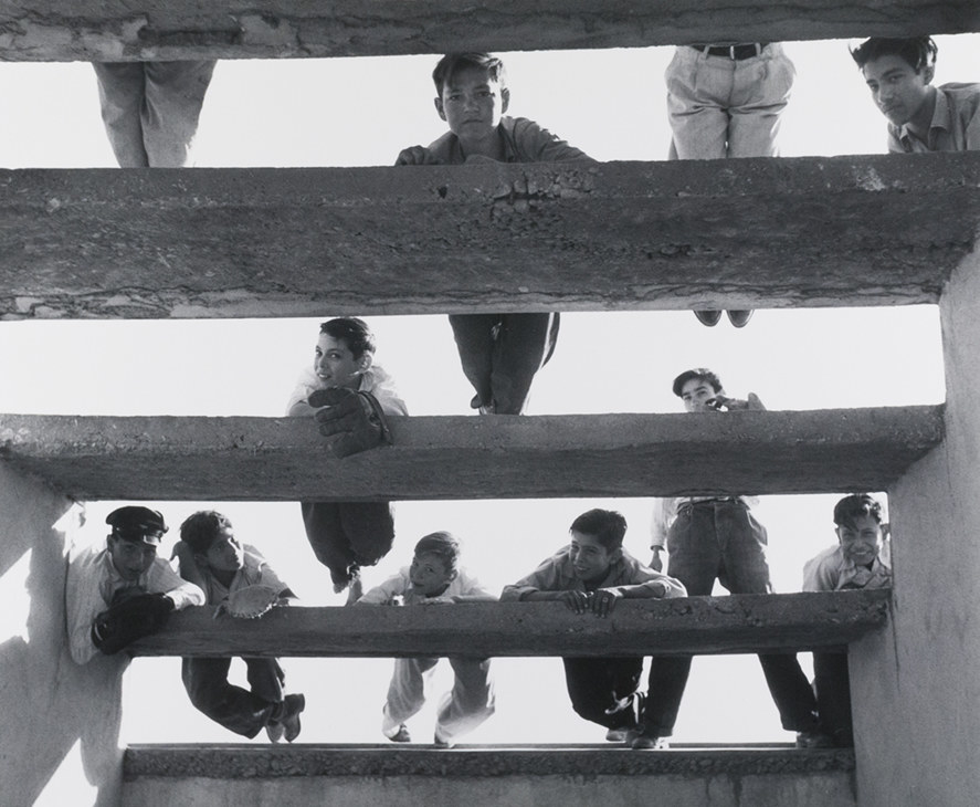A group of young boys hanging on the rafters over an open roof