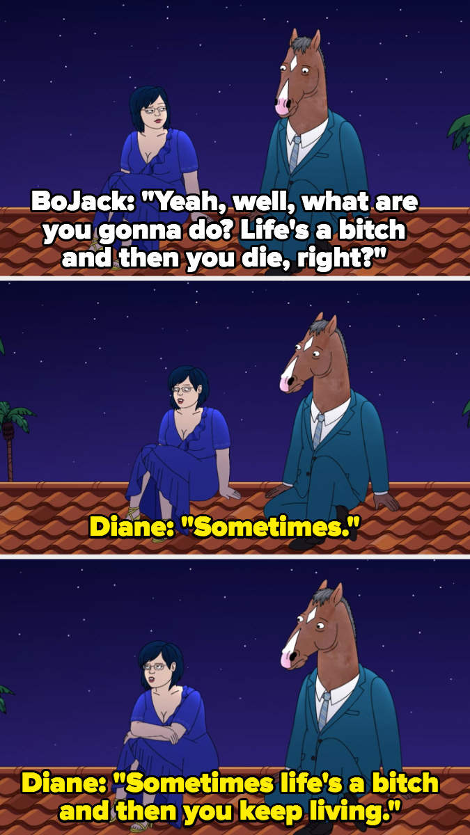 """BoJack: """"Life's a bitch right?"""" Diane: """"Sometimes life's a bitch and then you keep living"""""""