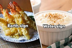 Earth sign with tempura and water sign with rice pudding