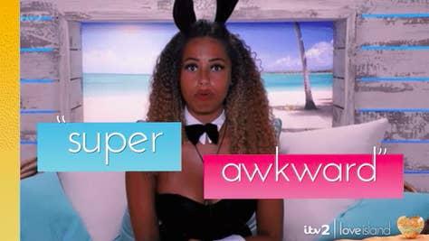 "Amber from ""Love Island UK"" Season 5 saying ""Super awkward"""