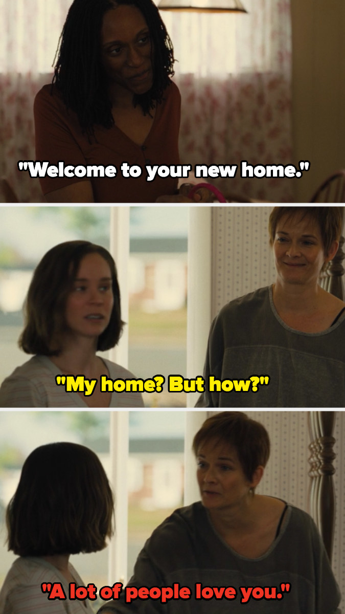 """Beth: """"Welcome to your new home,"""" Katie: """"My home? But how?"""" Katie's mom: """"A lot of people love you"""""""