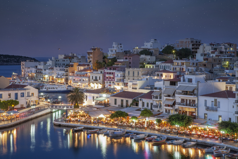 A nighttime view of Crete