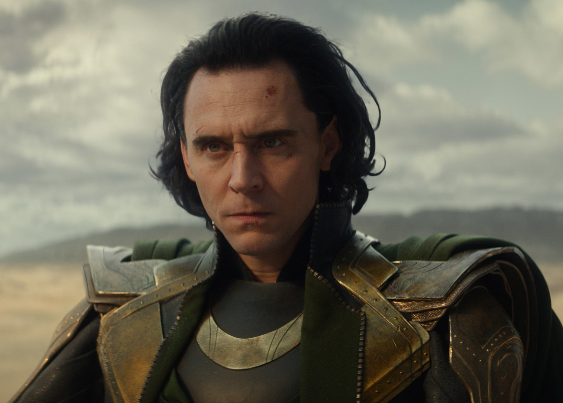 Loki looks annoyed while wearing his armour