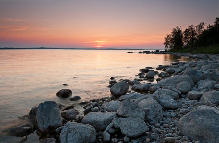 Rocky Beach Sunset in Cold Lake Alberta Canada