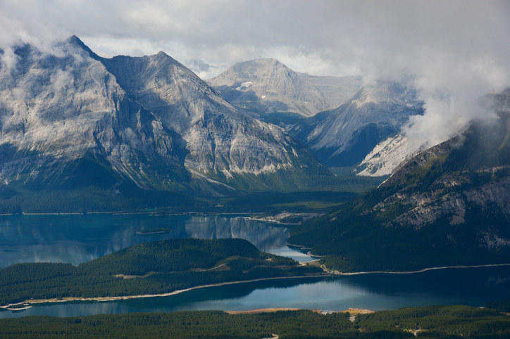 Upper and Lower Kananaskis Lakes, as seen from Mount Roberta. Canadian Rocky Mountains.