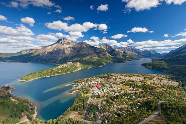 View from Bear's Hump over the hamlet Waterton Park, Waterton Lakes National Park, Alberta, Canadian Rockies, Canada.