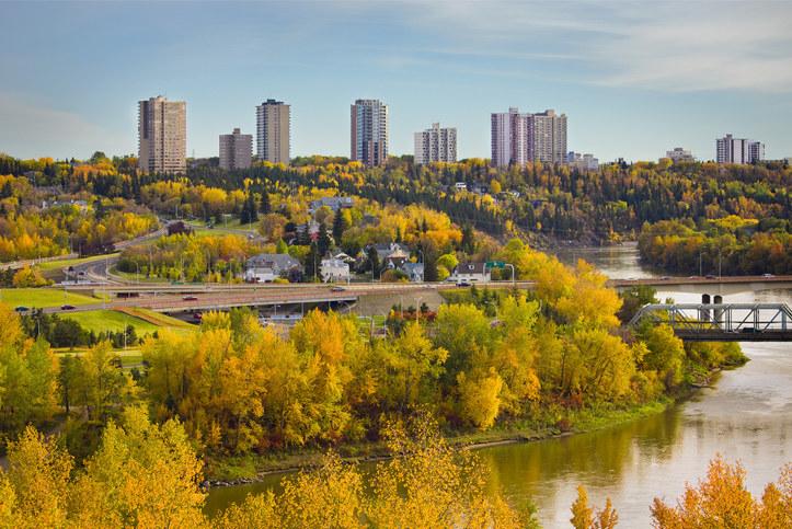 Autumn city skyline, Edmonton, Alberta, Canada