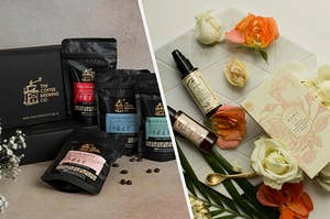 Coffee Brewing Co. assorted flavour packets with coffee beans spilled, Kama Ayurveda rose water and jasmine water care box with the box and some roses in the background