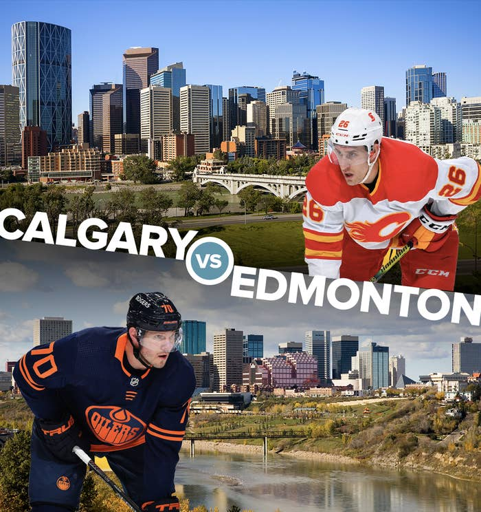 An Edmonton Oilers player and Calgary Flames player in front of images of their city skylines