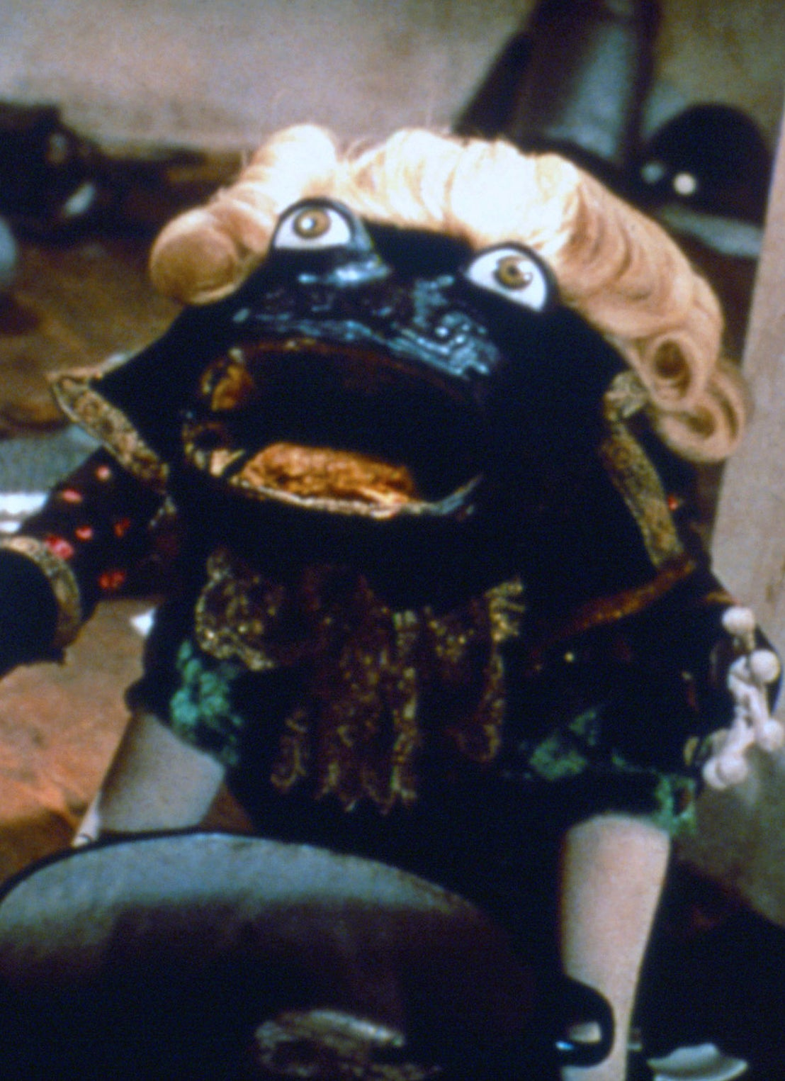"""frog puppet with wig from """"Alice"""" movie"""