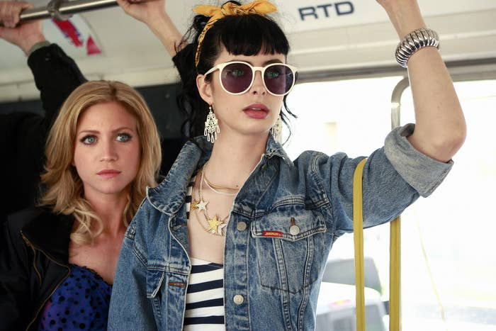 Lily and Carol on a bus
