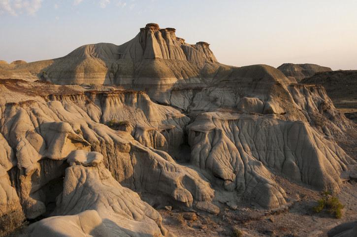 Hoodoos at sunset, Dinosaur Provincial Park, Alberta, Canada.