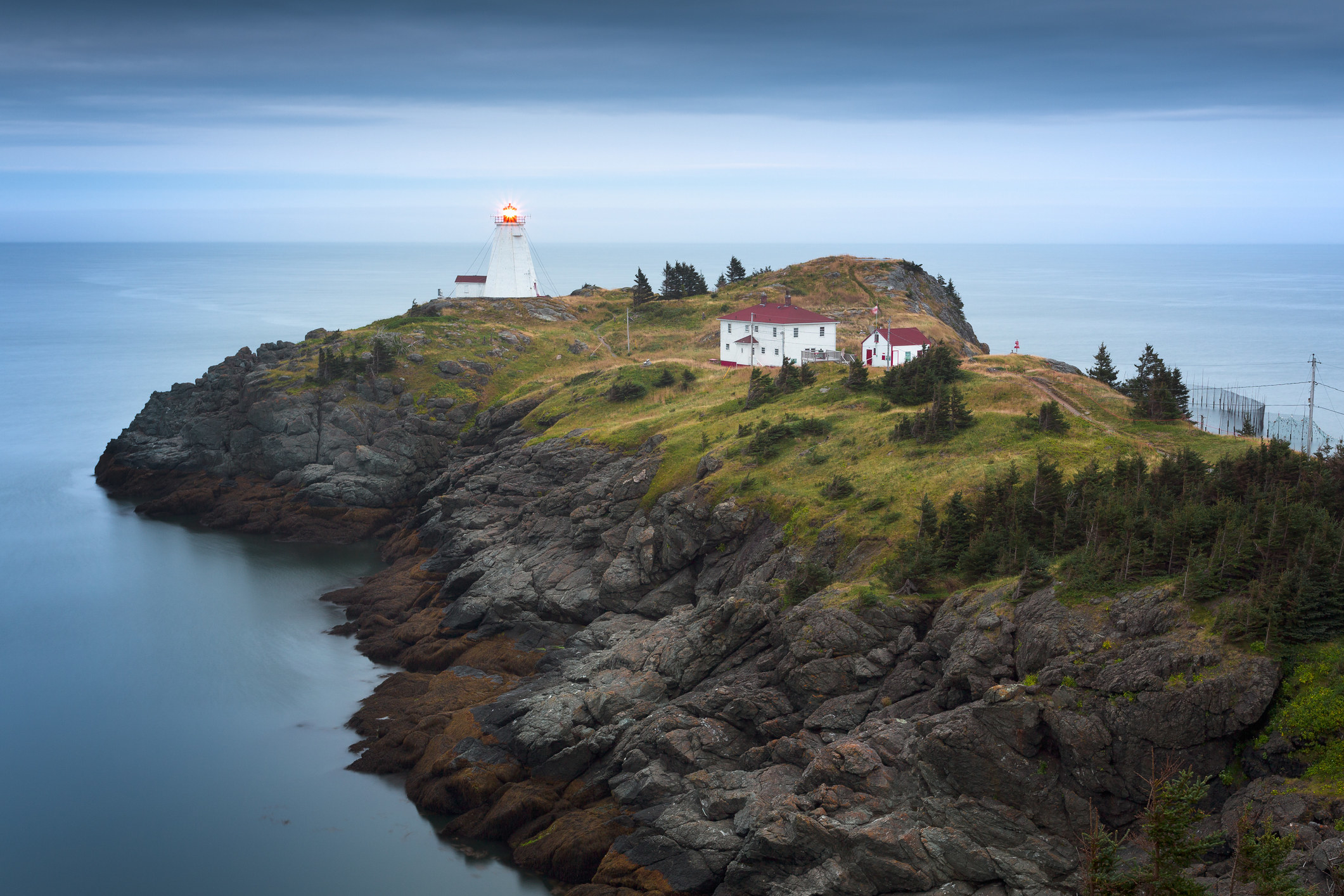 A lighthouse overlooking a bay in New Brunswick.