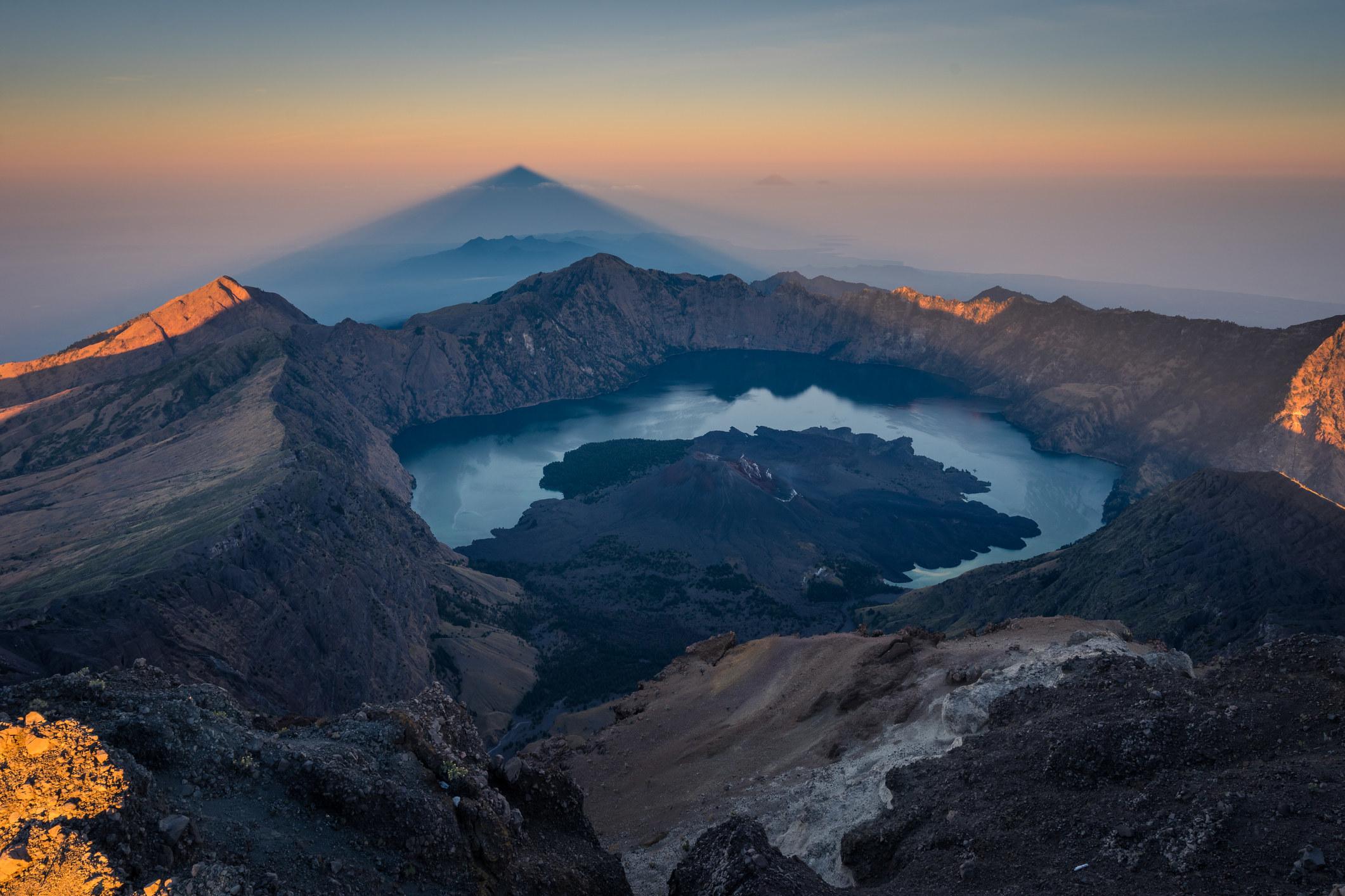 An active volcano mountain on Lombok.