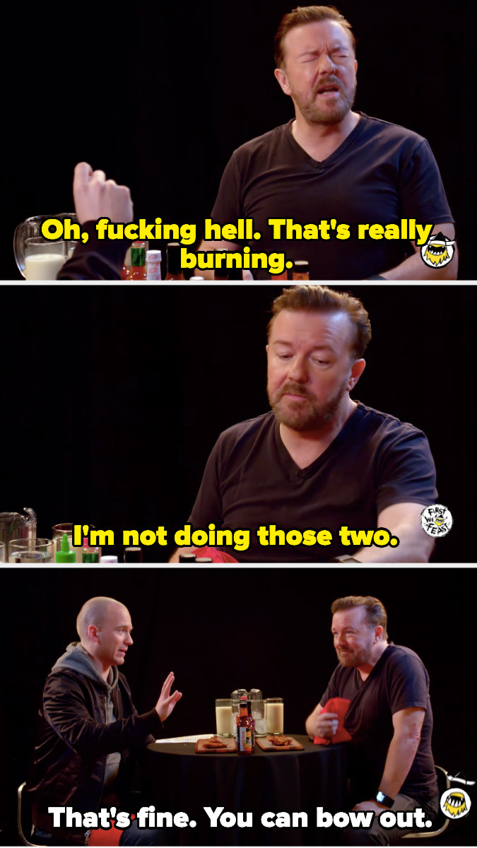 Ricky Gervais saying he's not doing the last two wings
