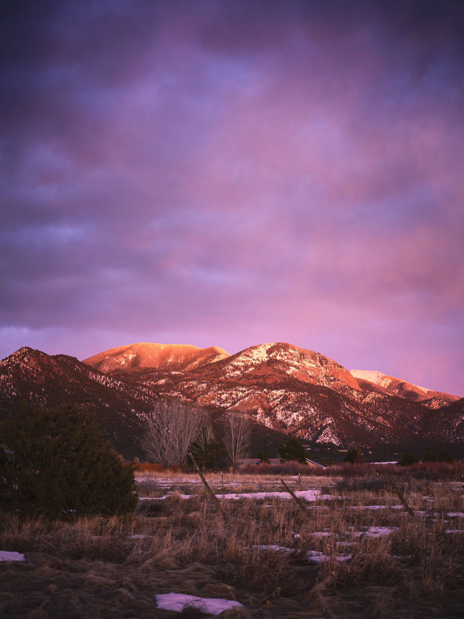 A pink sunset in Taos, New Mexico.