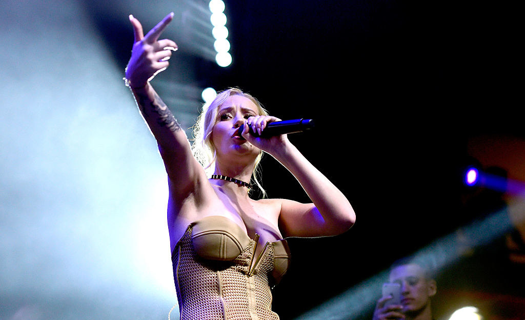 Iggy singing and pointing at the crowd