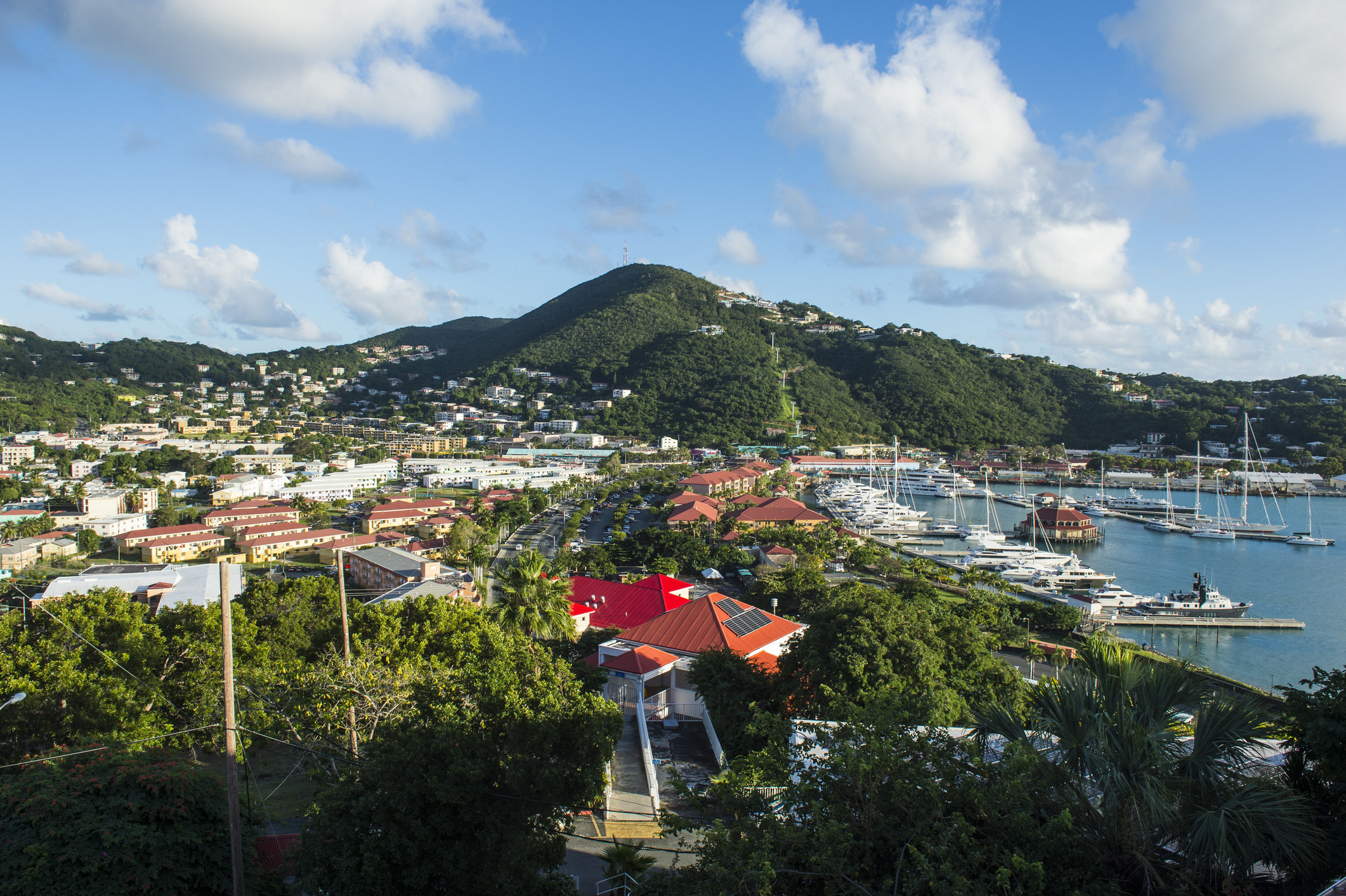 A beach view fromCharlotte Amalie located on St. Thomas.