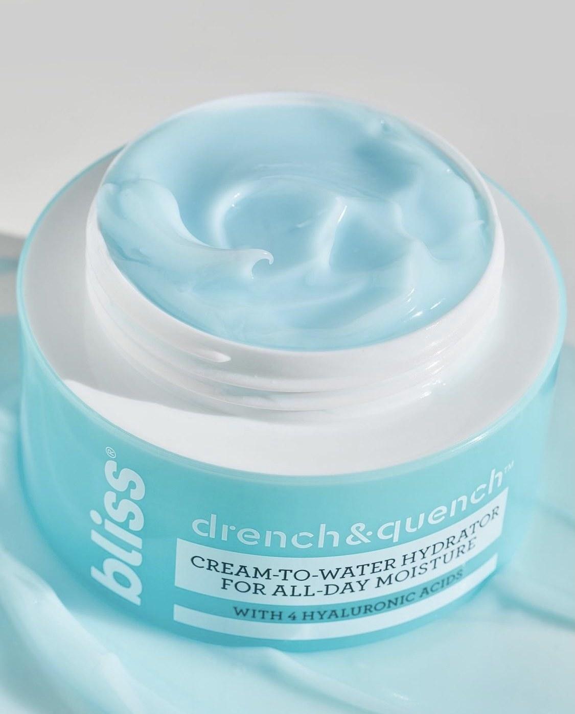 An open jar Bliss cream-to-water moisturizer