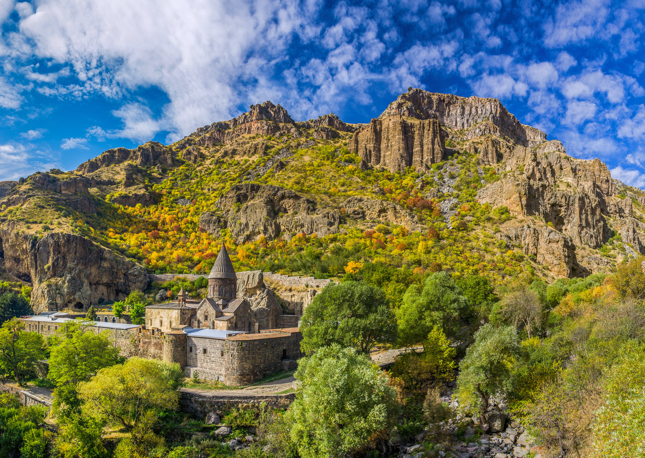 A monastery on a cliff in Armenia.
