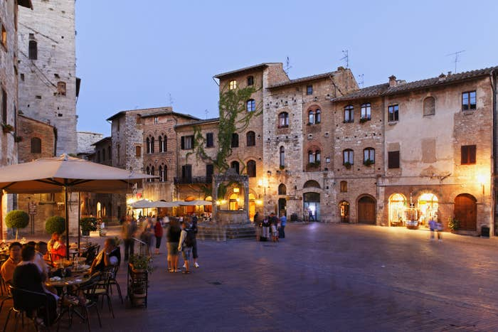 A quiet plaza in Siena, Italy.