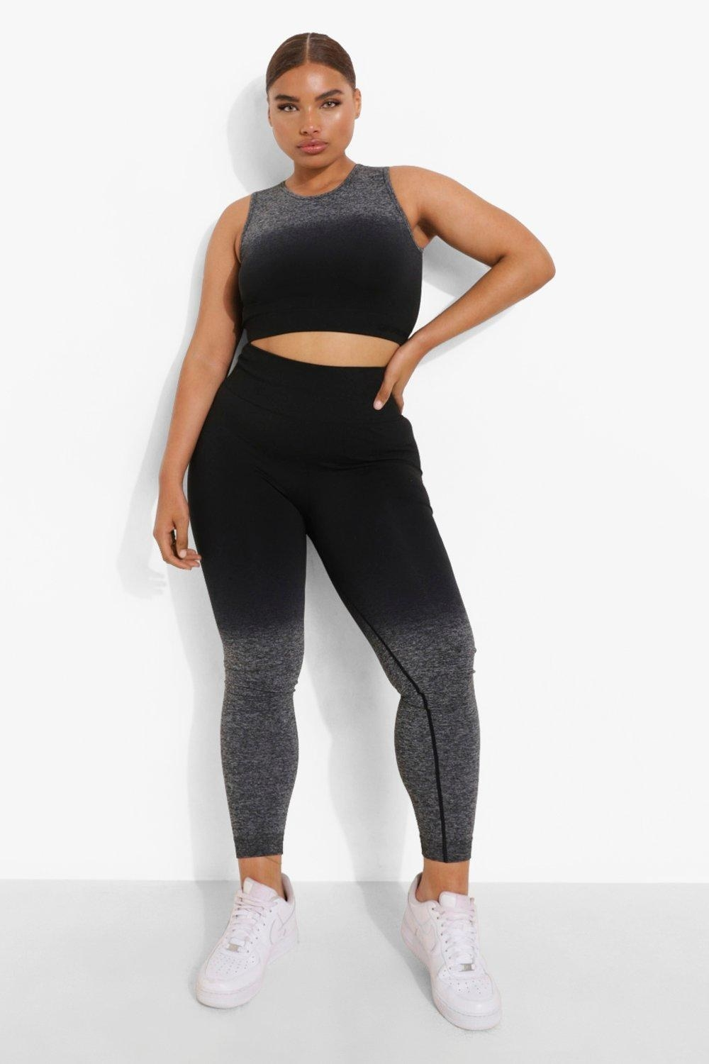 a model wearing the seamless leggings with a matching top