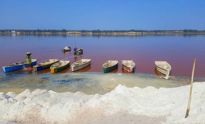 A pink lake with fishing boats in Senegal.