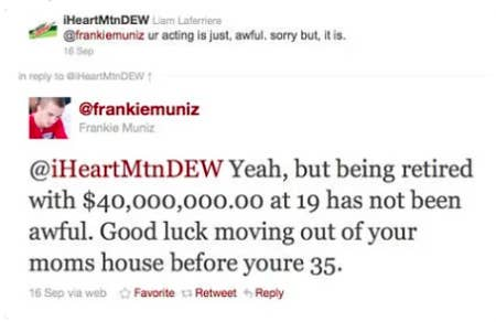 Frankie responding to a fan by saying he retired at 19 with 40 million in the bank