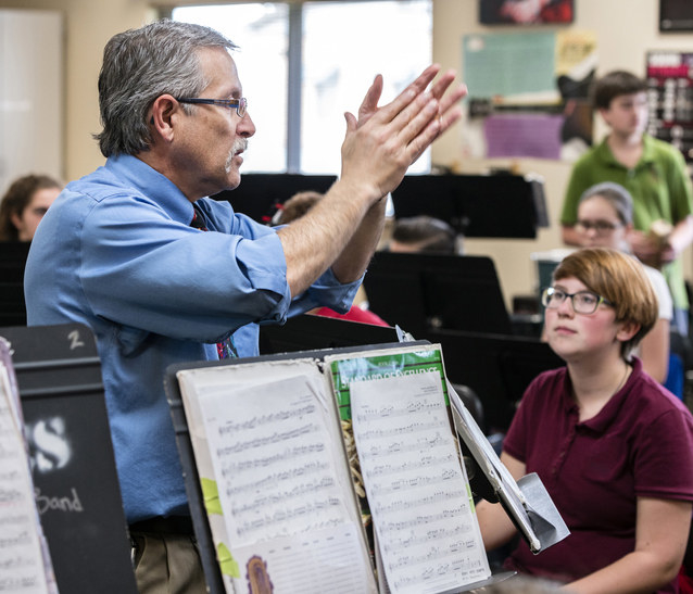 Band teacher talking to the class