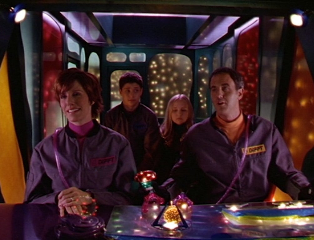 Ricky Ullman, Amy Bruckner, Lise Simms and Craig Anton in a colorful time machine