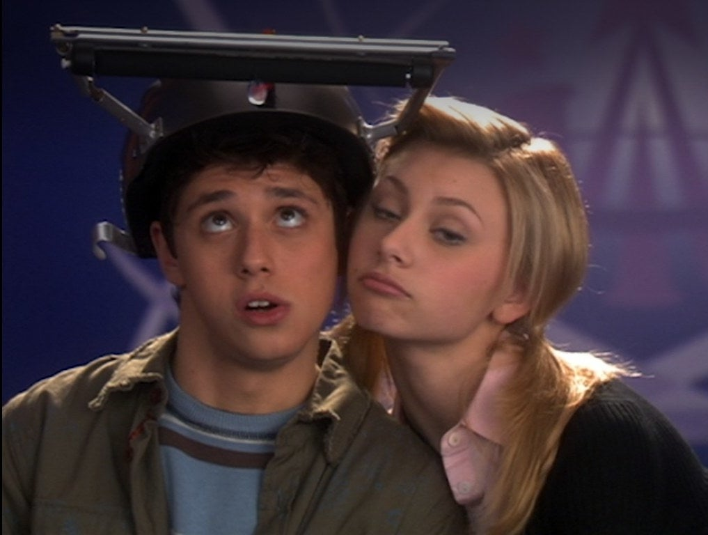 Ricky and Ullman and Aly Michalka put their heads together to share a helmet projector screen
