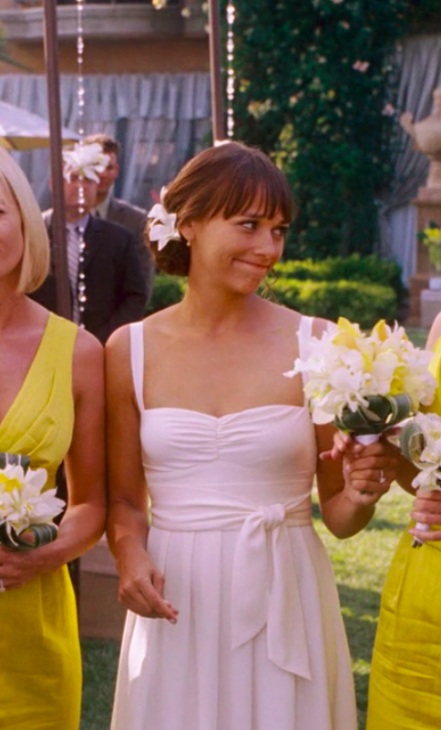 Zooey wearing a simple dress with smaller straps