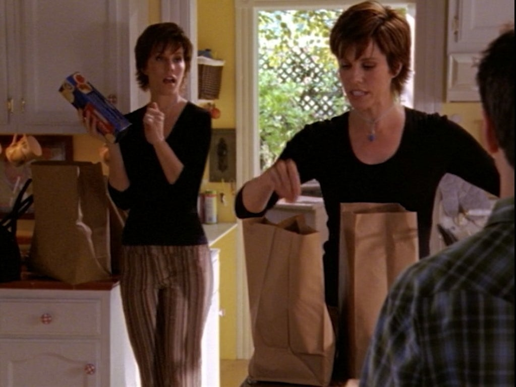 Replicant versions of Lise Simms unpack the groceries