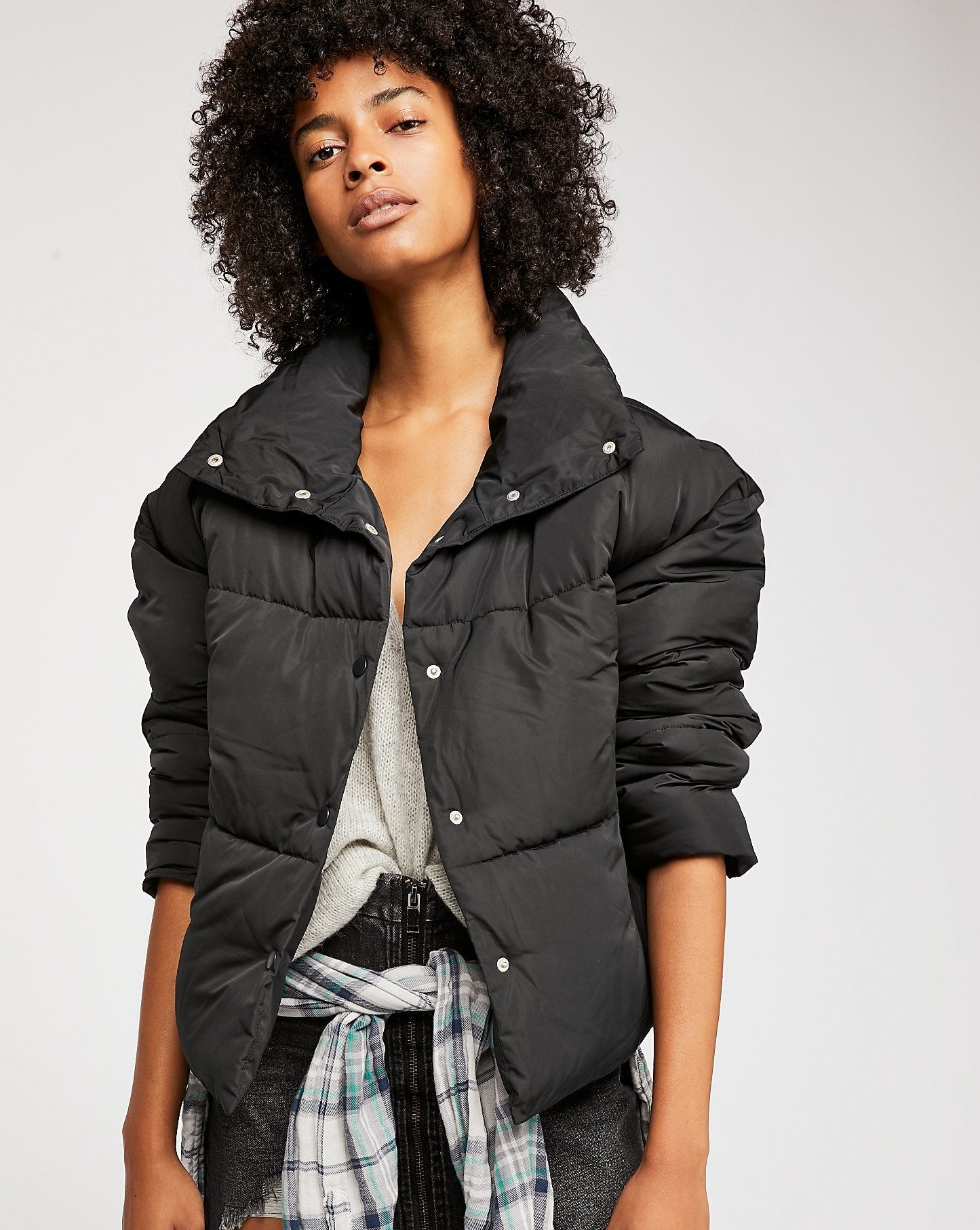 a person wearing the puffer jacket