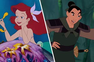 Ariel lays on top of rock under the sea while holding a single flower petal and Mulan stands with a hand on her hip as she's mid sentence