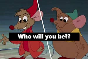Jaq and Gus the mice smile and wave at something off screen