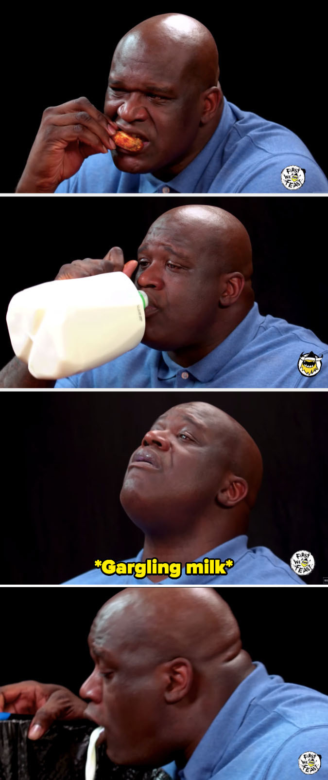 Shaq drinking, gargling, and spitting out milk