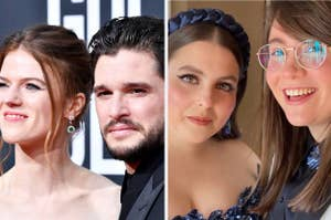 Rose Leslie with Kit Harington and Beanie Feldstein with Bonnie Chance Roberts