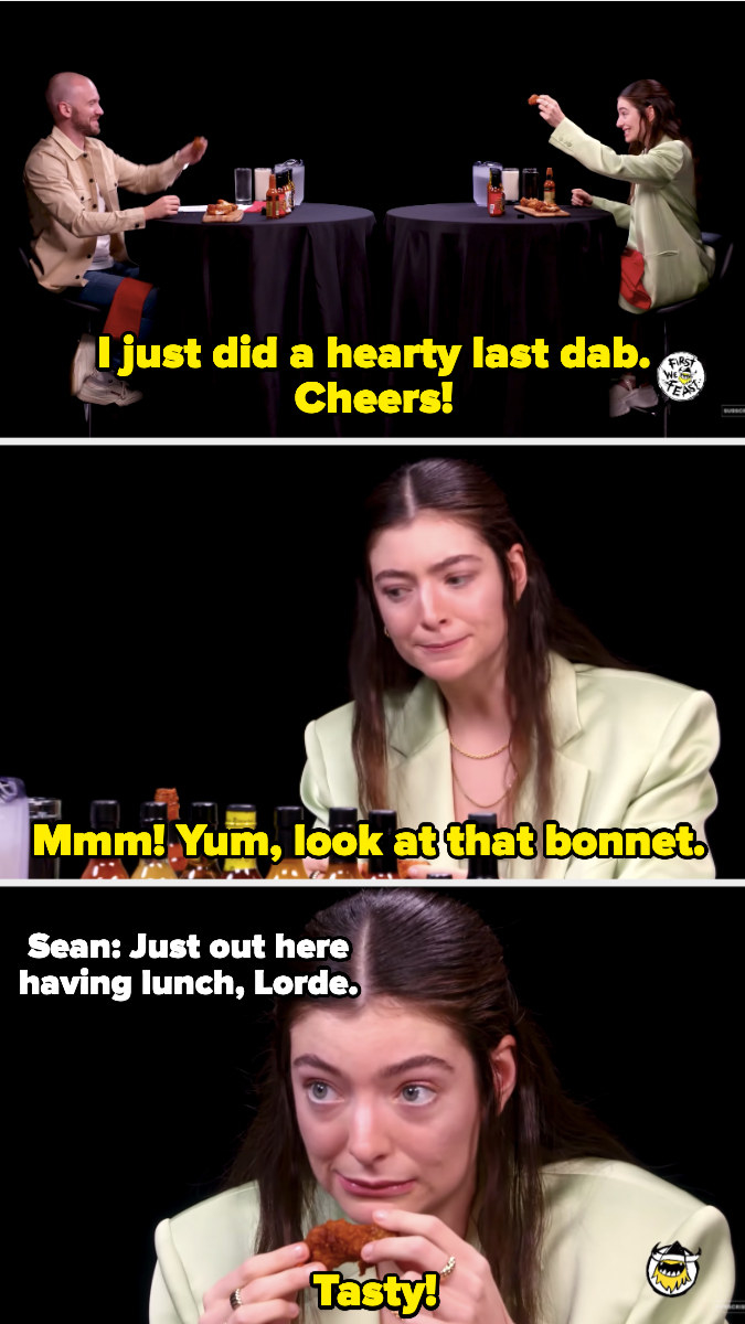 Lorde celebrating adding a hearty last dab to her final wing