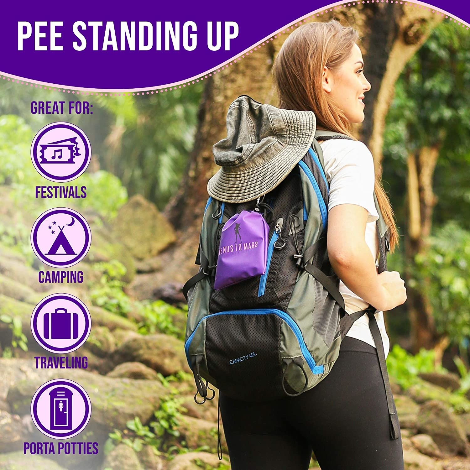 Model is hiking with the device in a pouch attached to their backpack