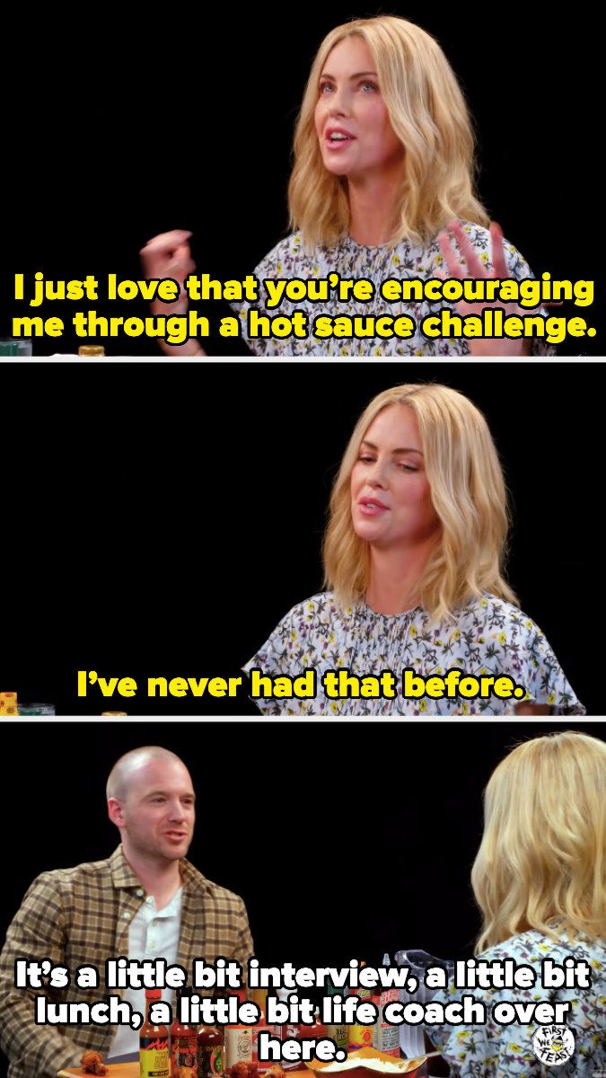Charlize thanking Sean for coaching her through the hot sauce challenge